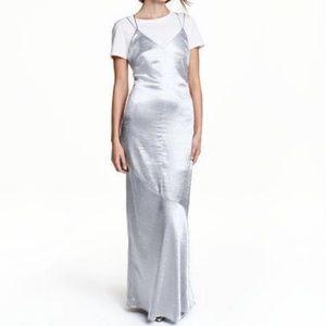 H&M metallic silver maxi dress